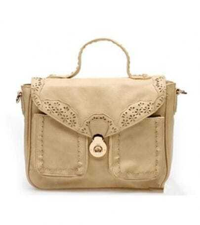 Beige Vintage Lace Satchel Bag