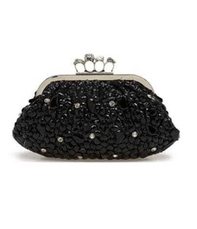 Skull Ring Black Clutch & Shoulder Bag