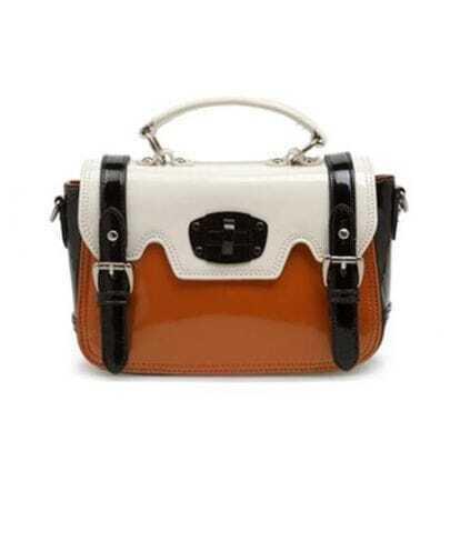 Vintage White and Orange Patent Leather Shoulder Bag
