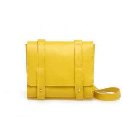 Vintage Bright Yellow Leather Shoulder Bag