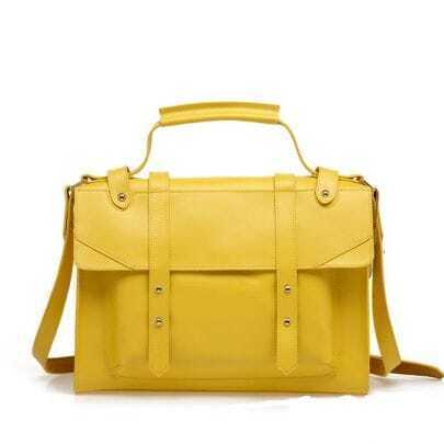 Vintage Yellow Leather Satchel Bag