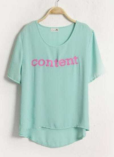 Green CONTENT Printed Short Sleeve Chiffon Dipped Hem T-shirt