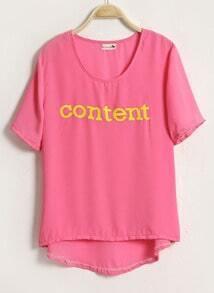 Pink CONTENT Printed Short Sleeve Chiffon Dipped Hem T-shirt