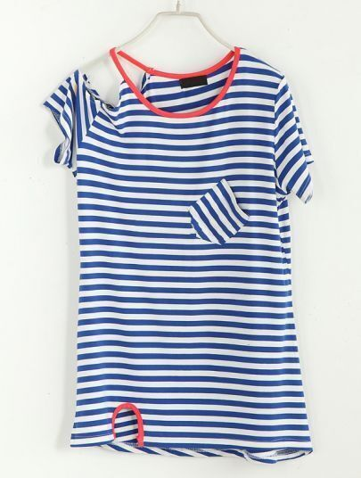 Striped Off The Shoulder Short-sleeved T-shirt Blue