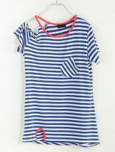 Striped Off The Shoulder Short-sleeved T-shirt Blue