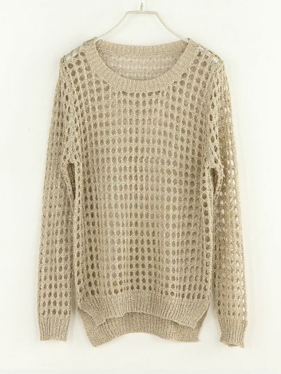 Hollow Round Neck Long-sleeved Sweater Gold