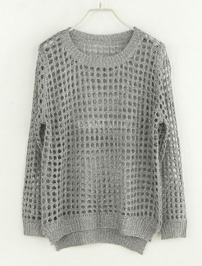 Hollow Round Neck Long-sleeved Sweater Silver