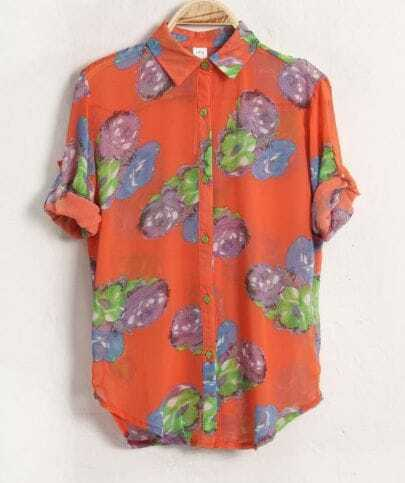 Flower Printed Lapel Half-sleeved Chiffon Shirt Orange