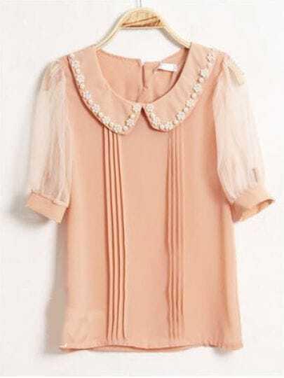 Beading Lapel Short-sleeved Chiffon Shirt Pink