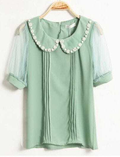 Beading Lapel Short-sleeved Chiffon Shirt Green