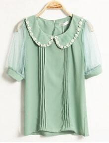 Beading Lapel Short-sleeved Chiffon Shirt Green
