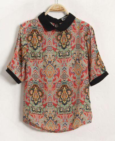Printed Vintage Lapel Short-sleeved Chiffon Shirt