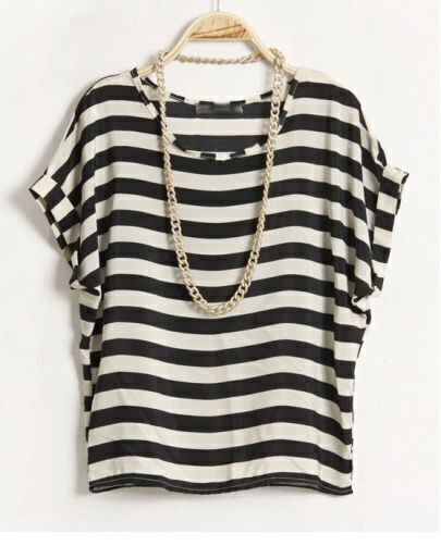 Striped Round Neck Short-sleeved Loose Chiffon Shirt White
