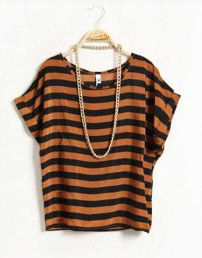 Striped Round Neck Short-sleeved Loose Chiffon Shirt Kaki