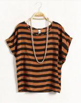 Striped Round Neck Short-sleeved Loose Chiffon Shirt Kaki