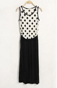 Polka Dot Round Neck Sleeveless Dress White And Black