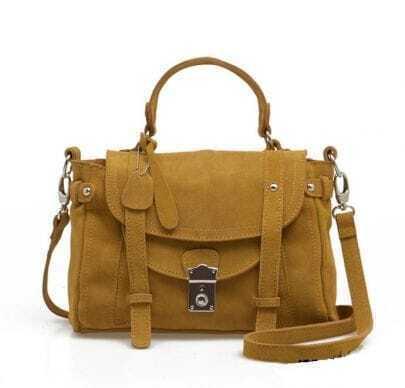 Camel Vintage Suede Satchel Bag