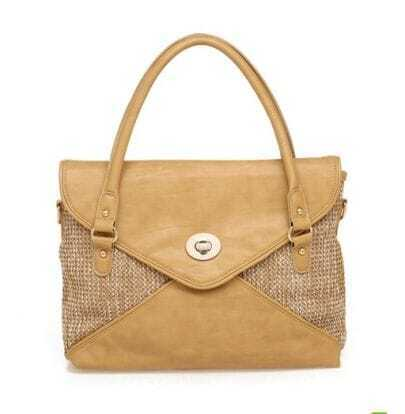 Apricot Straw Plaiting Handbag with Strap