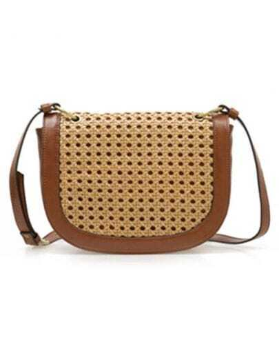 Camel Vintage Straw Cross Body Bag
