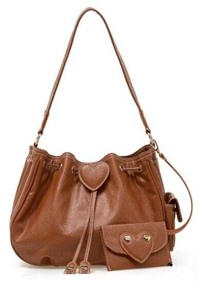 Brown Peach Heart Lovely Shoulder Bag