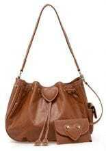 Brown Peach Heart Lovely Shoulder Bag