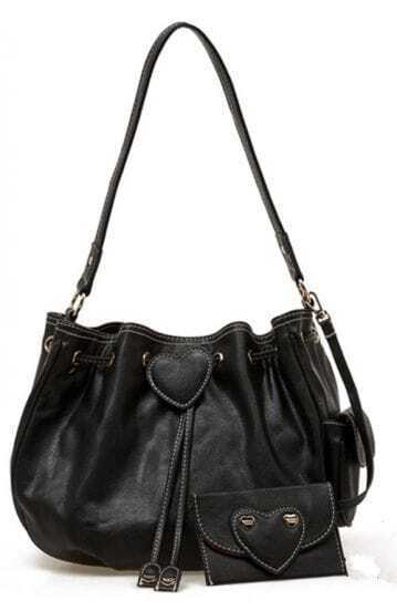 Black Peach Heart Lovely Shoulder Bag