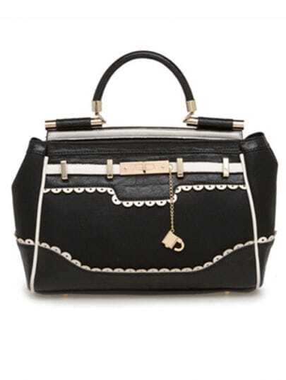 Black Piercing Lace Handbag