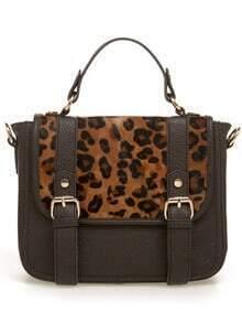 Leopard Horsehair Satchel Bag