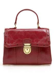 Dark-red Vintage Lace Piercing Handbag