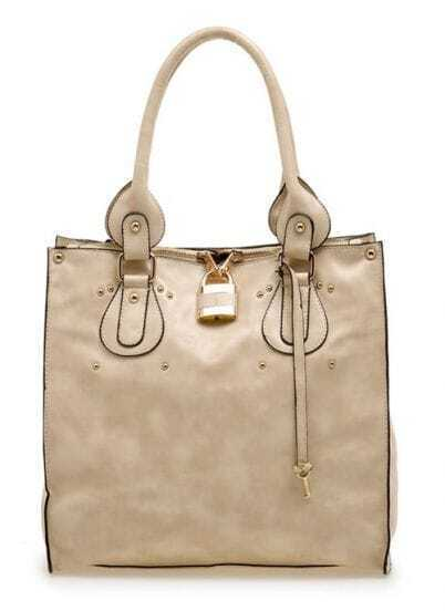 Beige PU Large Non Shopper Bag