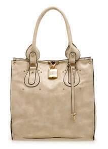 Beige PU Large Non Shopper Bag
