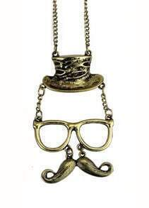 Vintage Style Mr. Mustache Silver Necklace