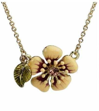 Cute Flower With Rhinestone And Leaf  Necklace