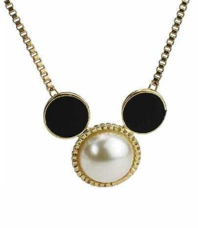 Mickey Mouse With The White Beads Necklace