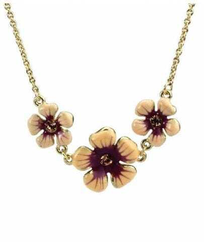 Three Pink Flowers Necklace
