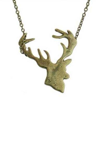 Golden Deer Head Pendant Necklace
