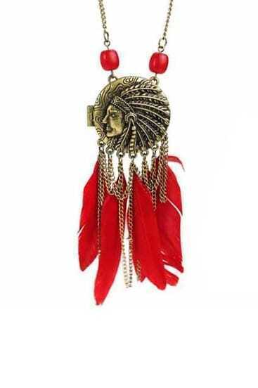 Round Head With Red Feather Necklace