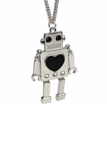Silver Robot With Black Heart Pendant Necklace