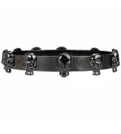 Solid Skull Decoration Bracelet Black