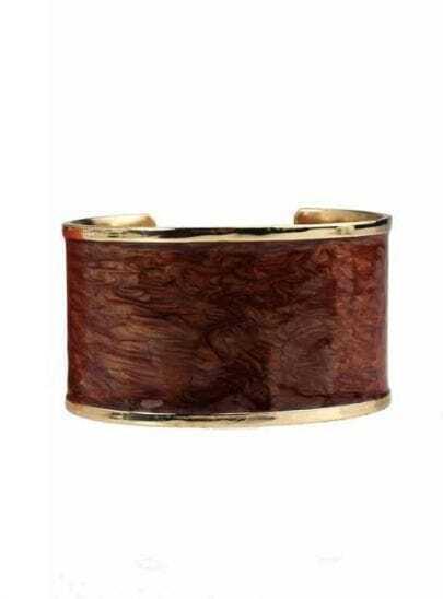Golden Edge Brown Wood Pattern Bracelet