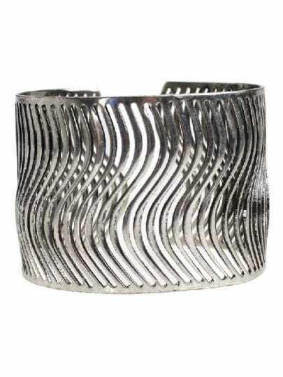 Solid Silver Modeling Chic Wide Bracelet
