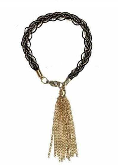 Braided rope Tassel Solid Bracelet Black