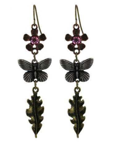 Flwer Butterfly Leaf Drop Earring