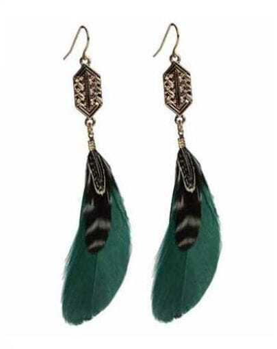 Green Feather Drop Earring