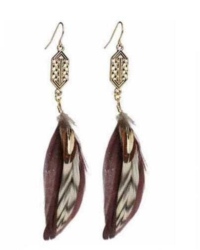 Red Feather Drop Earring