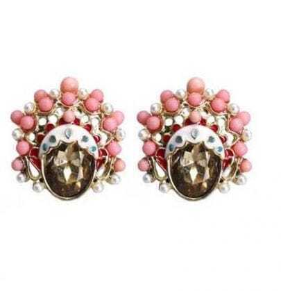 Pink Peking Opera Mask Earring