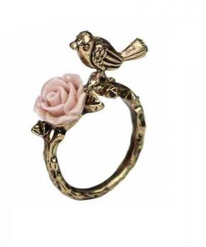 Bird Flower Gold Ring