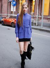 Stand-collar Solid Long-sleeved Chiffon Shirt Purple
