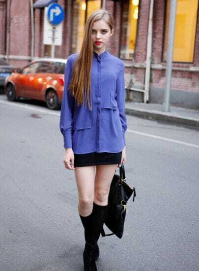 Stand-collar Solid Long-sleeved Chiffon Shirt Purple