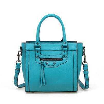 Blue Smiling Face Handbag with Strap